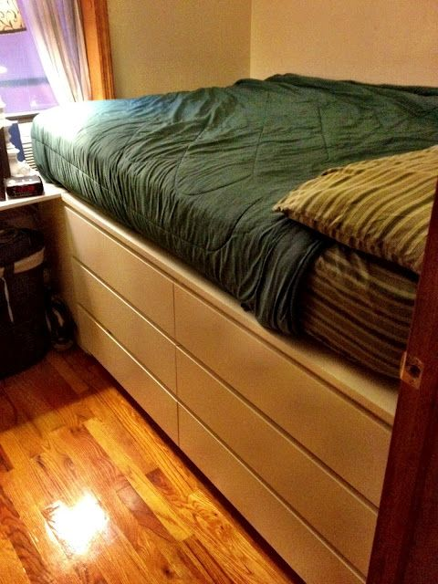 IKEA Malm dresser for storage under a bed In a TINY bedroom: they built a frame using 2x4s to compensate for the leftover space that the dresser didn't support. - Very cool idea!