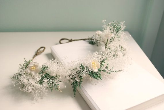 baby's breath with cherry blossoms bridal floral crown, tiara, flower girl crown, gypsophila wedding hair accessories - Starfall