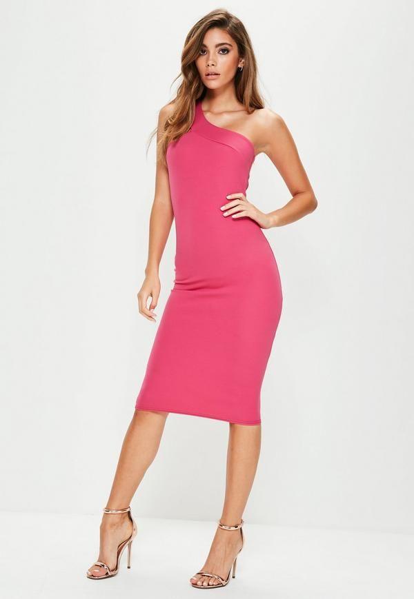 Mach Dich fertig für die Party! Figurbetontes Kleid mit asymmetrischem Schulterdesign in knalligem Pink.