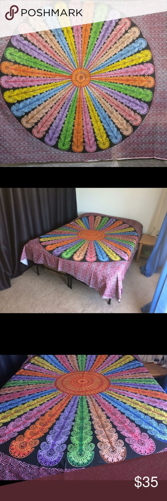 "🦄 rainbow Wall Decor  Bed Spread Tapestry Mandala Brand new.Handmade with natural dyes.  Uses: bed spread, couch spread, curtains, wallhangings, Celling decor, beach mat, picnic mat, table cloth, yoga & meditation.  Size: 90"" X 84"" inch ( Queen bed)   Material;100% Cotton  Wash: cold wash   #kidsroom #kidsroomdecor #kidsroomideas #teensroom #dormroom #dormroomideas #kids #  #tapestry #mandala #birthdaygift, #beachtowel #bedspread #walldecor #gift #boho #hippy #gypsy #wallhanging #yogamat…"