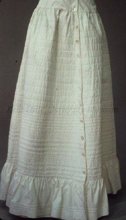 White cotton quilted petticoat, dated 1840-49 (?), American. Kent State University Museum collection: 1983.001.0085