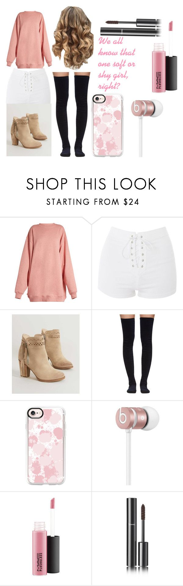 """""""soft/shy girl"""" by cheese-paper ❤ liked on Polyvore featuring Acne Studios, Topshop, Not Rated, Sacai, Casetify, Beats by Dr. Dre and Chanel"""