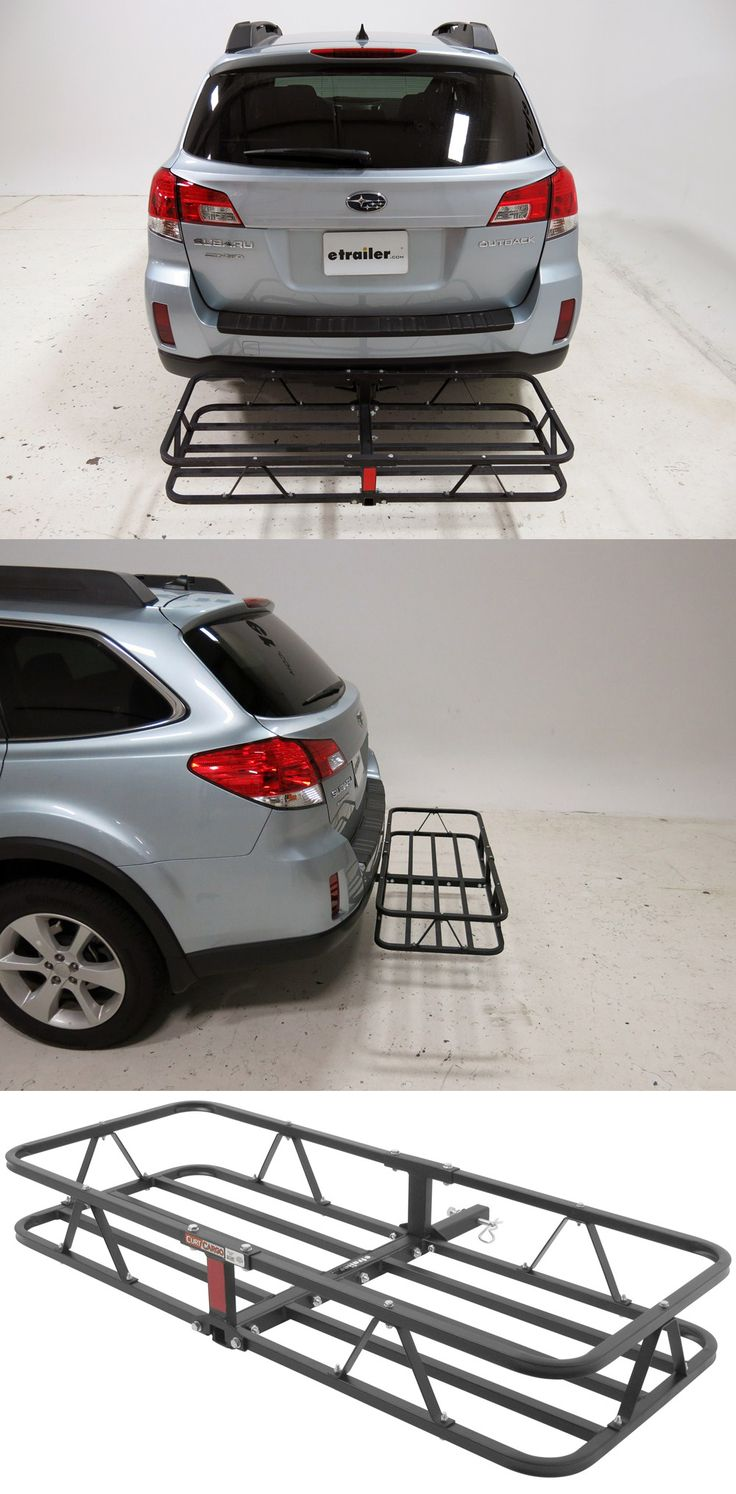 Rust-resistant, basket-style cargo carrier with side rails that keep cargo in place while traveling. Attach to the Subaru Outback Wagon to haul around camping and hiking gear.