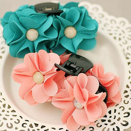 High Quality Solid Color Thick Cotton Begonia Flower with Metal Button Hair Claw…