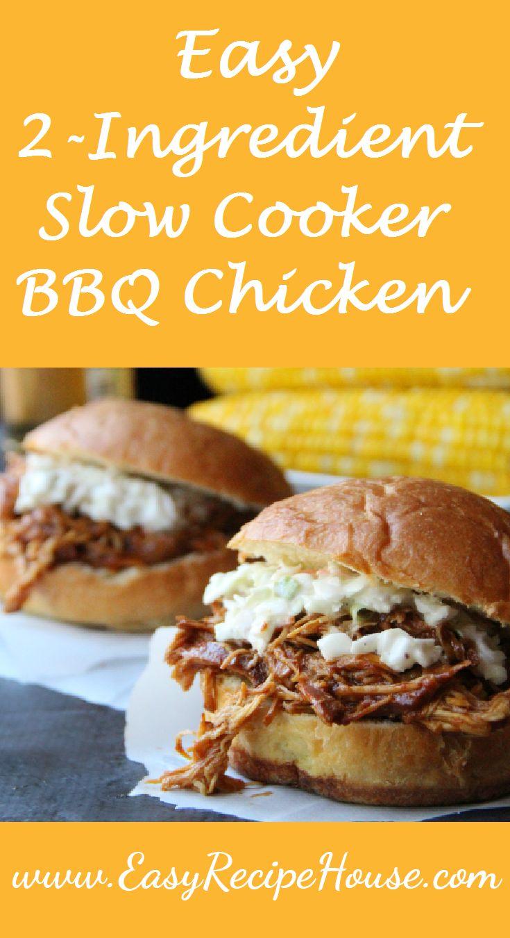 Easy 2- Ingredient Slow Cooker BBQ Chicken -  2 Minutes Prep -Easy Slow Cooker Dinner- Easy Crock Pot