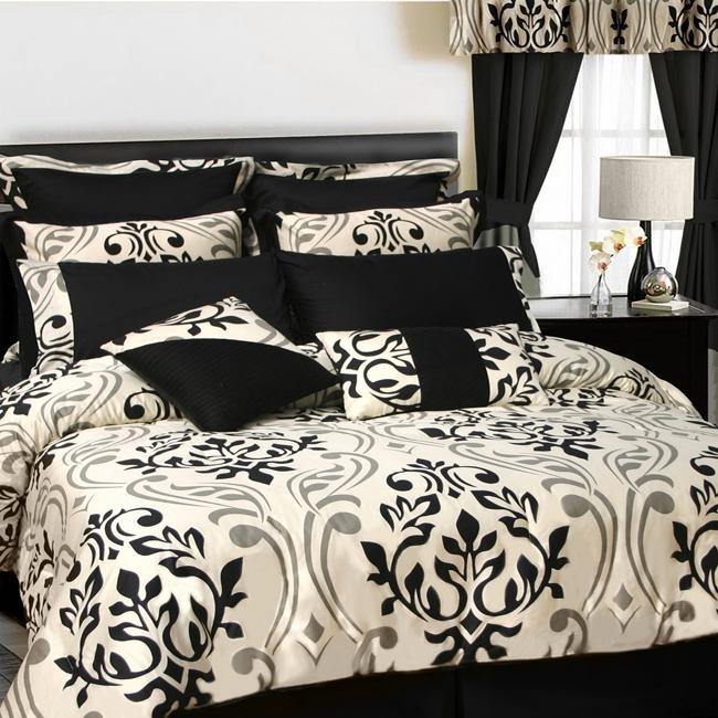 Black ivory and pewter scroll damask bedding bedroom for Black damask bedroom ideas