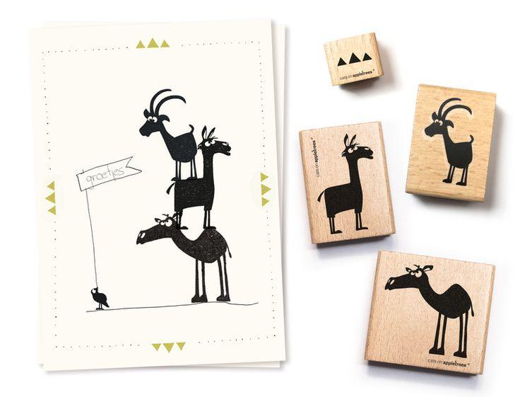Stempelsets - Stempelset Stapeltiere - ein Designerstück von catsonappletrees…