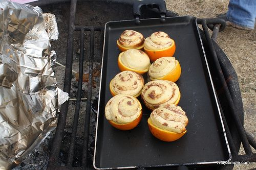 cinnamon rolls in oranges when you go camping!