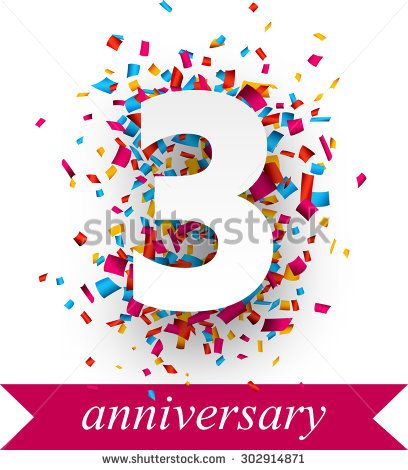 Three paper sign over confetti. Vector holiday anniversary illustration.