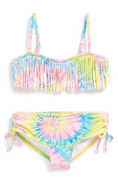 Free shipping and returns on Billabong 'To Dye For' Two-Piece Bandeau Swimsuit (Little Girls) at Nordstrom.com. Pretty pastel fringe details a cute, tie-dye bandeau top that pairs with matching bottoms for a splash-ready set.