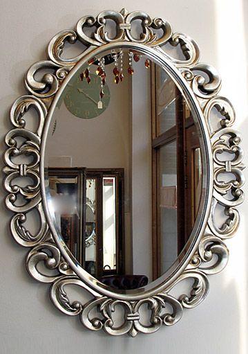 Barok zilver ovaal spiegel Marseille