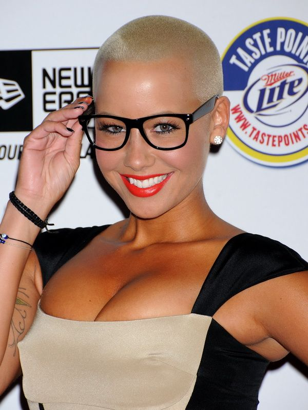 5 amber rose shaved head glasses - gorgeous women with shaved heads