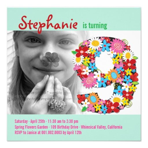 22 best 9th birthday party invitations images on pinterest spring flowers number nine girl 9th birthday photo custom invitations filmwisefo