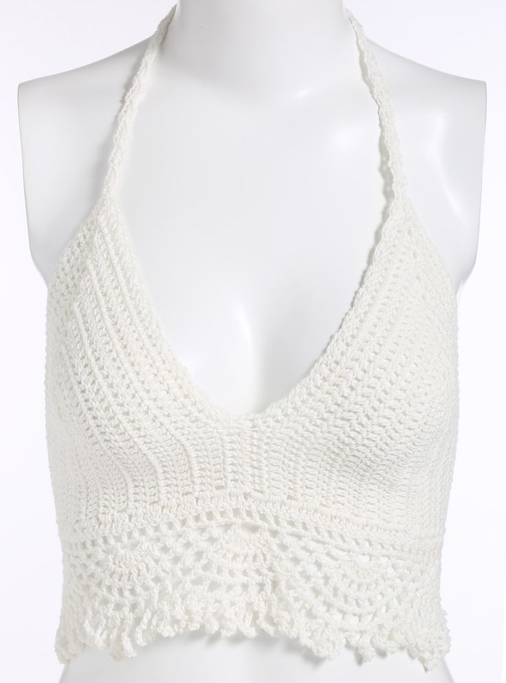 #Halter #Crochet #Hollow #Cami #Top