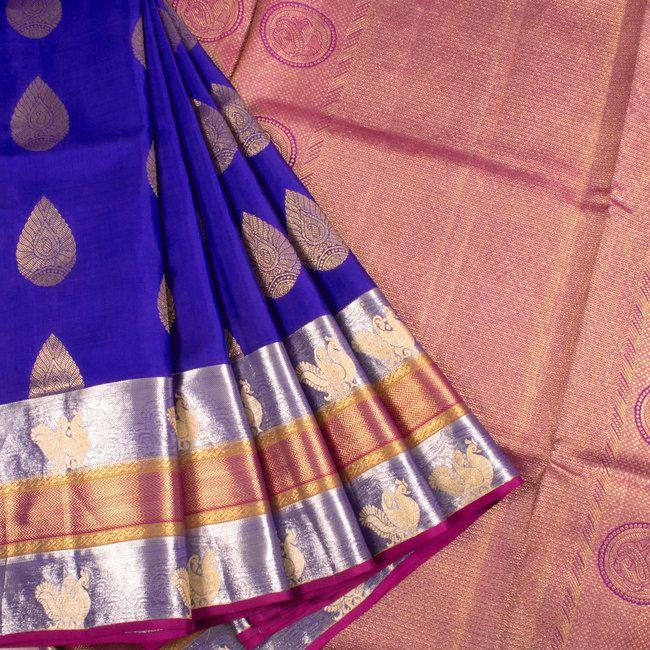 Handwoven Blue South Silk Saree With Floral Motifs & Multicolour Border 10018627 - AVISHYA.COM