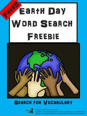 Free Earth Day Vocabulary Worksheet  from TiePlay Educational Resources LLC on TeachersNotebook.com -  (4 pages)  - FREE! Ecology, recycle, sustainable... a free Earth Day worksheet appropriate for learners 3rd to 6th grade. This word search contains 21 Earth Day vocabulary words.