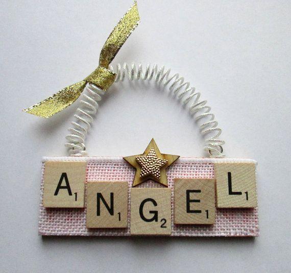 Angel Christmas Scrabble Tile Ornament by ScrabbleTileOrnament
