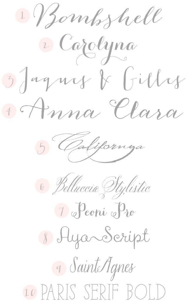 Trendy: 1. Bombshell Pro // 2. Carolyna Pro // 3. Jaques & Gilles // 4. Anna Clara  Vintage: 5. Californya // 6. Bellucia Stylistic   Whimsical: 7. Peoni Pro // 8. Aya Script // 9. Saint Agnes   Hipster: 10. Paris Sherif