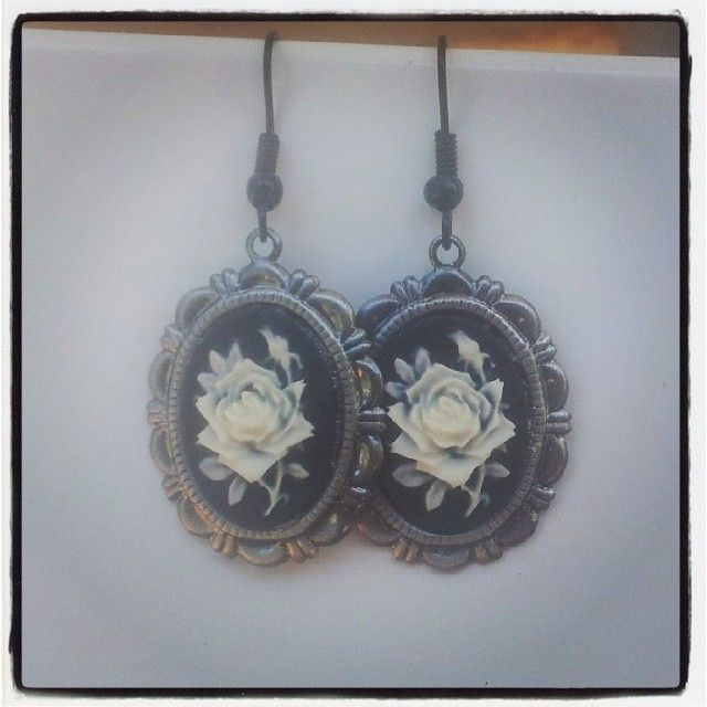 White Rose Cameo with Silver Frame Earrings $10 Aust. From Rags To Bags on FaceBook.