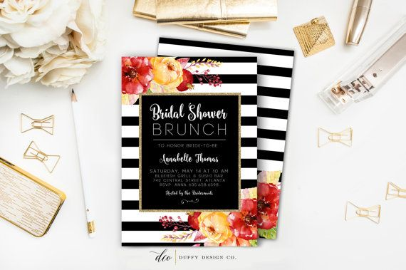 Brunch with the girls in style with these Bridal Shower Brunch invitations!  This invitation measures 5 x 7 and comes to you in a high quality PDF and Jpeg. No printed items will be shipped when you purchase the digital invite only. These are sent as a jpeg and pdf file, can easily be uploaded to online printer, taken to local printer or printed from the comfort of you own home. Please email me if you have questions regarding printing.  ::::::::::: TO ORDER ::::::::::  1. Purchase this…