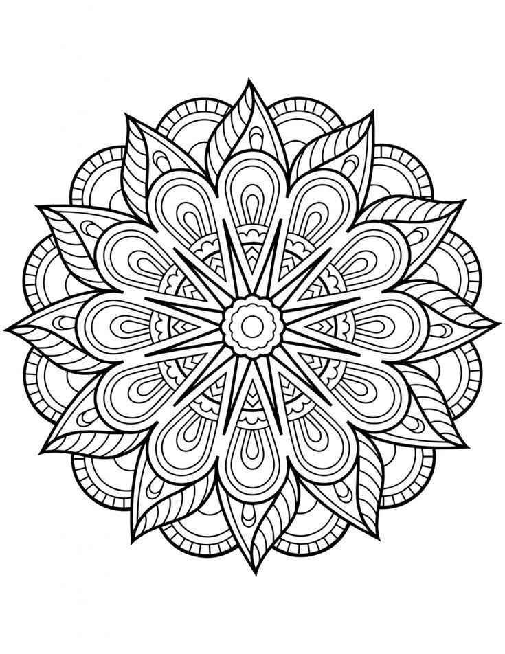 Pages de coloriage Mandala de fleurs - Adult Coloring Pages en 2020 | Coloriage mandala ...