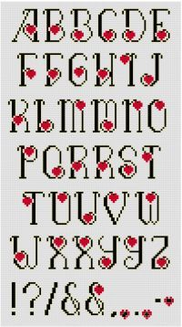 Don't use ordinary letters to express extraordinary feelings. The Beloved Cross Stitch Alphabet Pattern features elegant black letters outlined in gold metallic. A red heart is tucked into the curves.