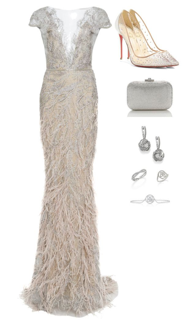 """Red Carpet Ready"" by quocanh1383 ❤ liked on Polyvore featuring Marchesa, Christian Louboutin, Judith Leiber and De Beers"
