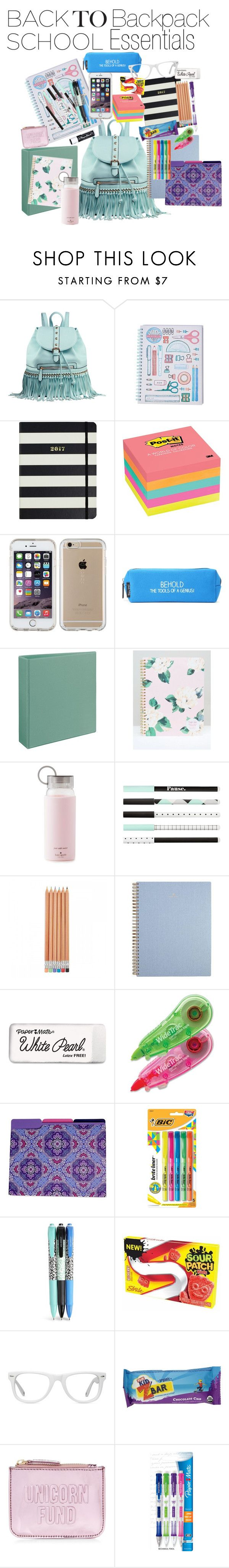 """Back to school 2016- backpack essentials"" by darling-ange1 ❤ liked on Polyvore featuring interior, interiors, interior design, home, home decor, interior decorating, MKF Collection, Kate Spade, Post-It and Speck"