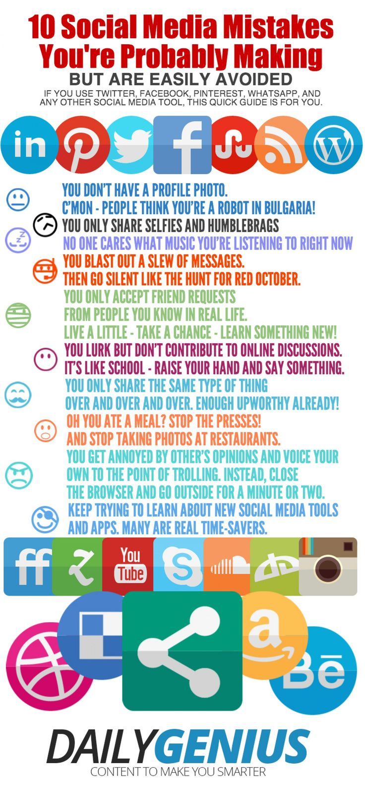 10 social media mistakes you're probably making but are easily avoided. #infographic