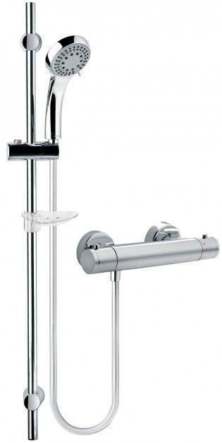 Varese set - zestaw prysznicowy; komfortowy dla całej rodziny: temperaturę wody można ustawić na wybranym poziomie, a także zablokować wypływ gorącego strumienia; w komplecie mydelniczka i 5-funkcyjna słuchawka. Cena: ok. 648,21 zł, Ferro.