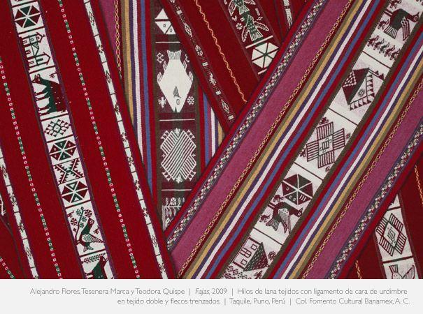 FAJAS, 2009- Alejandro Flores, Tesenera Marca y Teodora Quispe.  Hilos de lana tejidos con ligamentos de cara de urdimbre en tejido doble y flecos trenzados.