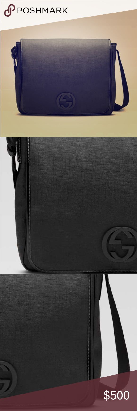 UNISEX Gucci Large Messenger Bag UNISEX Gucci large messenger bag with interlocking G detail black coated fabric with black leather trim adjustable shoulder strap black hardware pen and business card holders flap closure with magnetic snap back pocket with hook-and-loop closure and inside zip and cell phone pockets Gucci Bags Messenger Bags