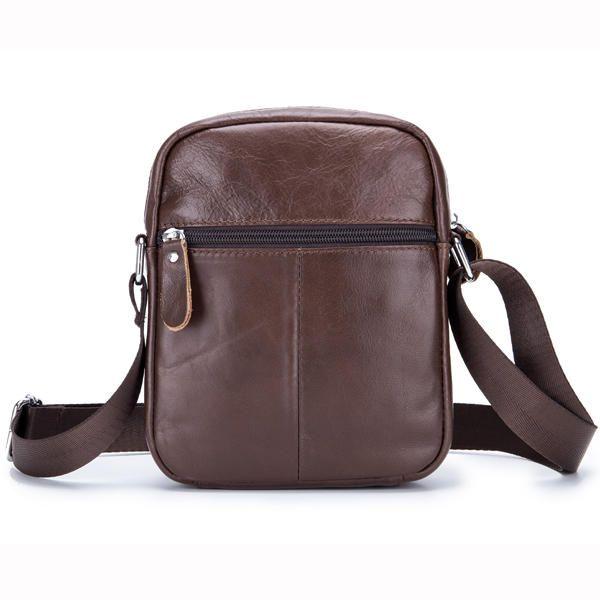 Men Genuine Leather Sling Bag Business Casual Black Crossbody Shoulder Bag - US$29.98