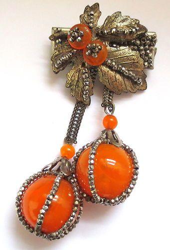 RARE Early Vintage Huge Miriam Haskell Giant Orange Pate de Verre Bead Brooch | eBay