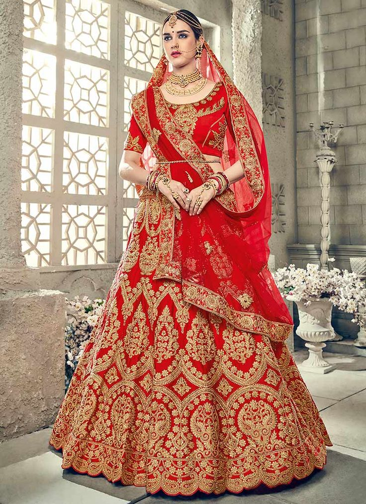 Buy Red Art Silk A Line Lehenga online, SKU Code: GHSHTH104. This Red color Wedding a line lehenga for Women comes with Embroidered Art Silk. Shop Now!