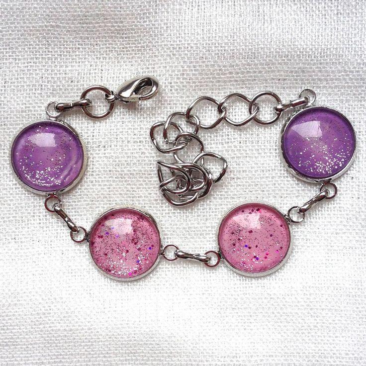 BRACELET 4 CABOCHONS 14MM 2 TONS ROSE ET MAUVE + PAILLETTES : Bracelet par clareve