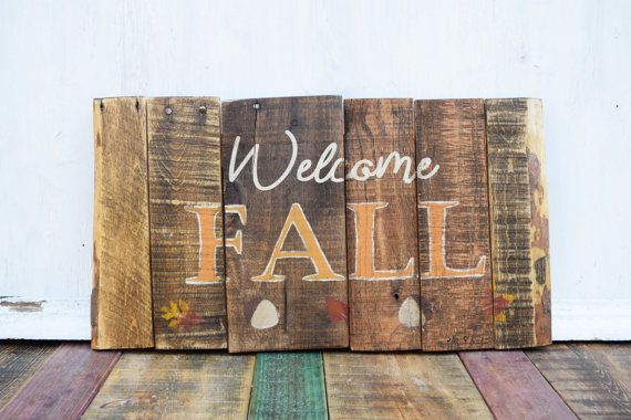 Wood Fall Sign Fall decor Fall Pallet Sign Wood by PaperGluePaint