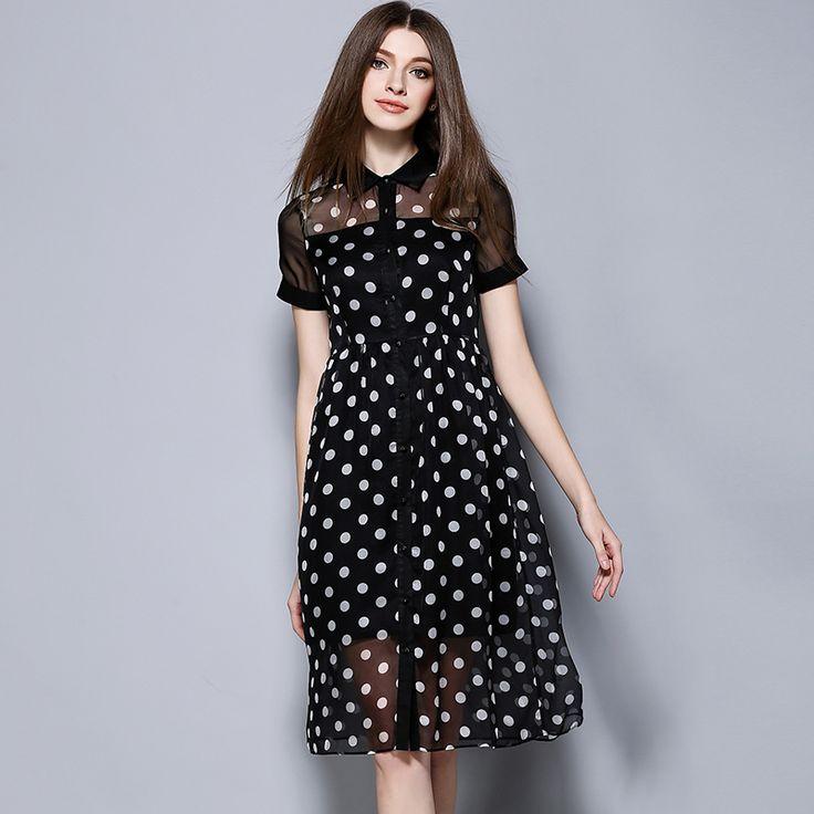 Europe womens summer dress fashion temperament Wave perspective turndown collar slim Cardigan dress casual clothing 1221
