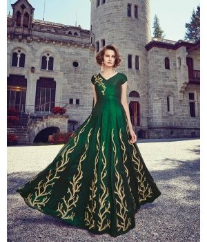 Stunning Green Net Partywear Suit - $118.38 Look like a showstopper with the Stunning Green Net Partywear Suit from the house of Lurap. Crafted in delicate net fabric, the kameez is highlighted by beautiful embroidery in gold.