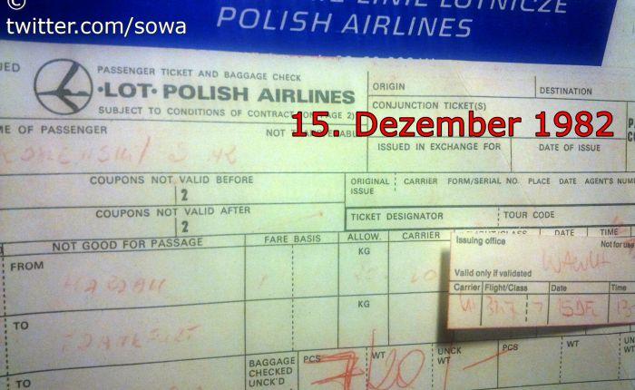 15. 12. 1982 Lufthansa WARSAW – FRANKFURT XXXV  rocznica Emigracji Politycznej stanu wojennego – KOSIEWSKI 15 grudnia 2017