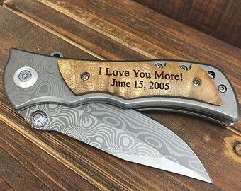 I Love You More Valentines Day Gift Engraved Pocket Knife Custom Knives, Hunting Knife, Personalized Knife, Engraved Knives, Wood Handle