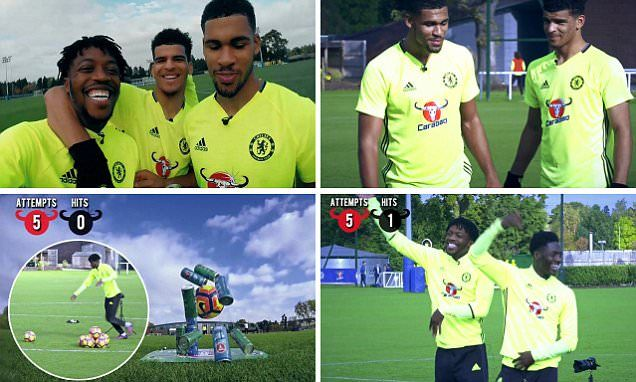 Chelsea youngsters RUBEN LOFTUS-CHEEK andNATHANIEL CHALOBAH make tough work of accuracy challenge...