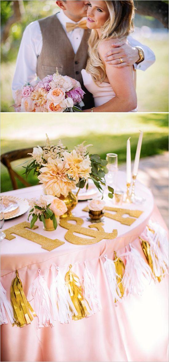 Blush and pink wedding with tons of details! #weddingchicks Captured By: Amanda McKinnon Photography http://www.weddingchicks.com/2014/08/20/no-white-wedding-dress-here/