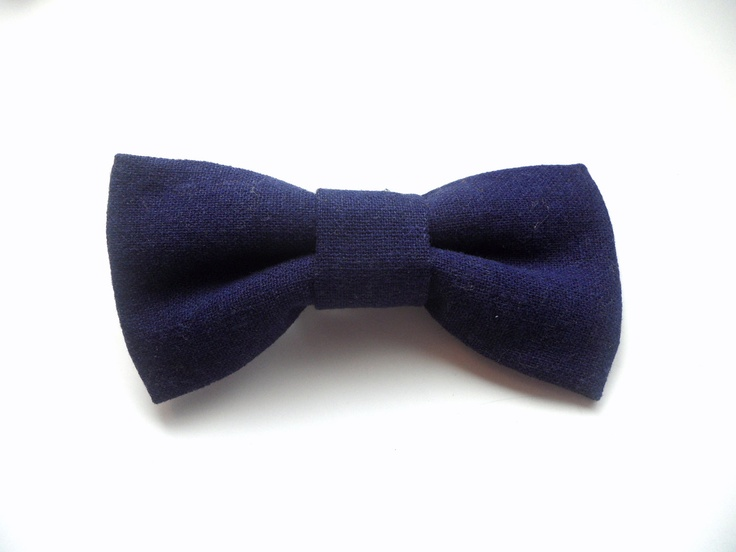 Solid Navy Blue or Mustard Yellow Linen Bow Ties for Boys and Men. $9.50, via Etsy.