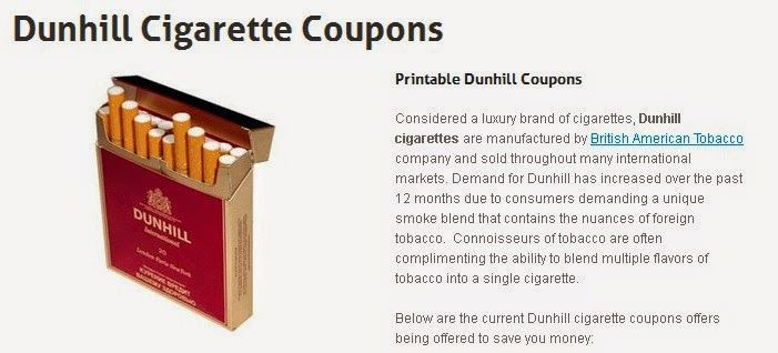 Cigarette discount coupons