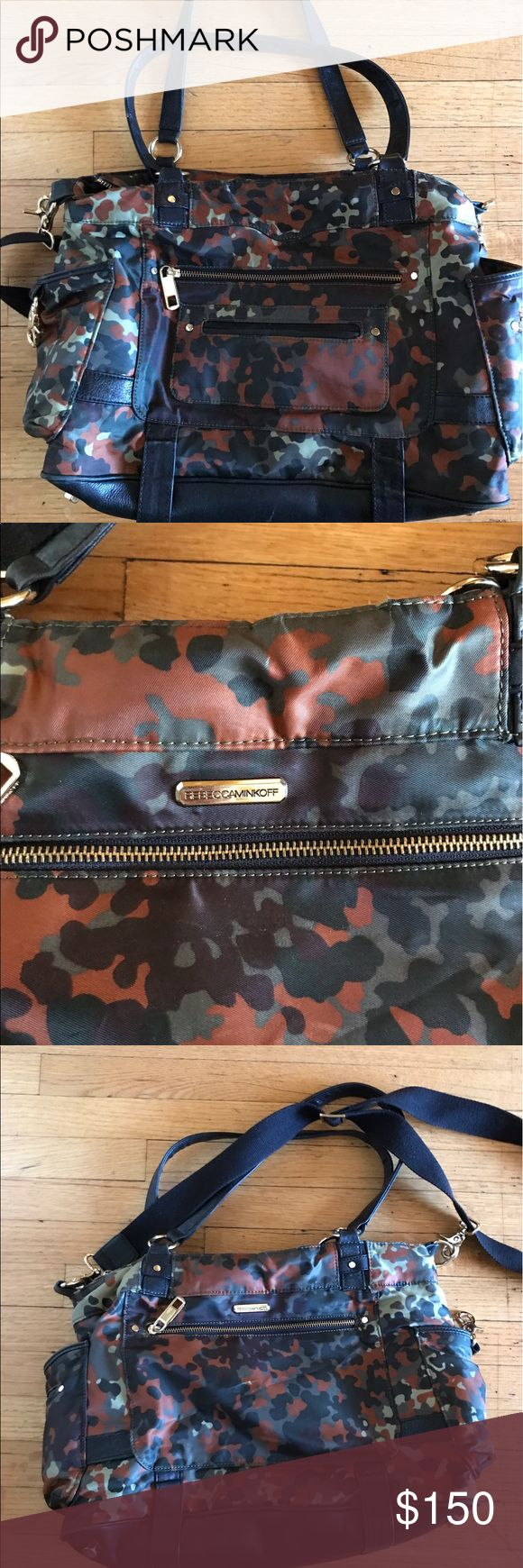 Rebecca Minkoff diaper bag Leather bottom and in great condition! Rebecca Minkoff Bags Baby Bags