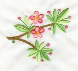 2-Sided Embroidery, Apple Blossoms by Tanja Berlin: Berlin Embroidery Designs. Surface embroidery stitched so that the back looks the same as the front.