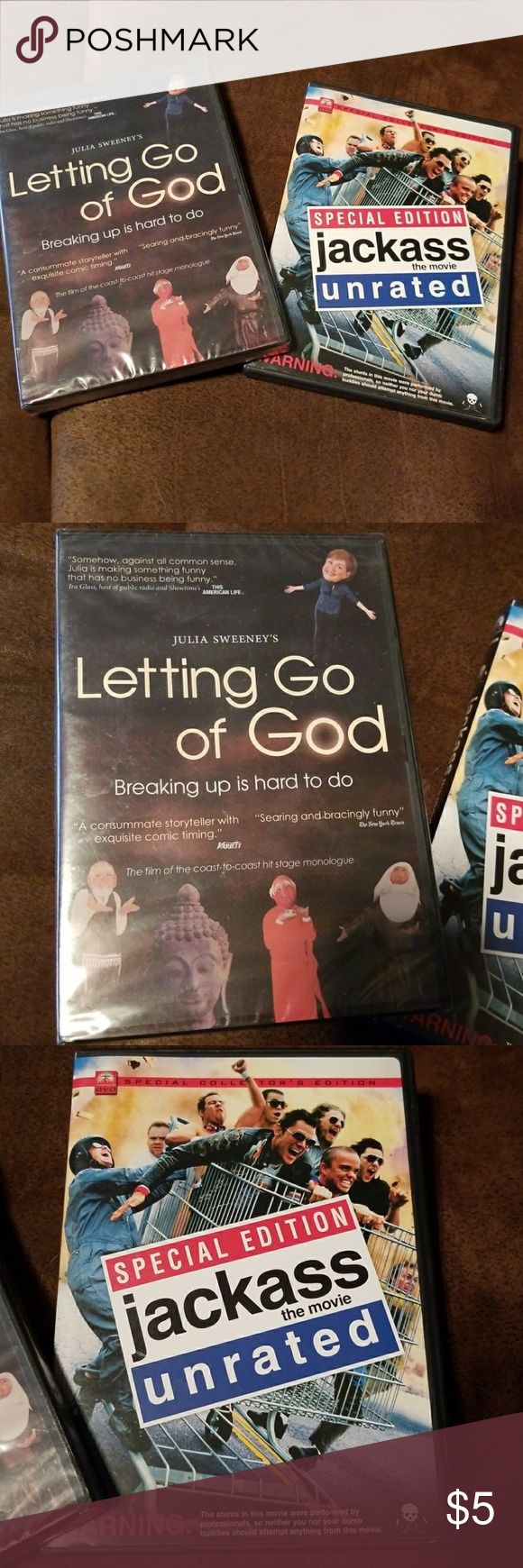 """Comedy duo 2 comedy dvd's Julia Sweeneyd """"Letting go of God"""" comedy is unopened, still wrapped in plastic. Jackass has been watched and is funny! Other"""