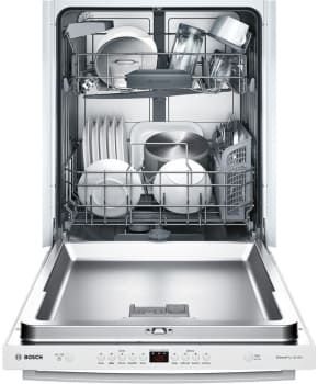 Bosch SHX5AV52UC Fully Integrated Dishwasher with RackMatic® System, 24/7 Overflow Protection®, InfoLight®, 14 Place Setting Capacity, 5 Wash Cycles, Long Silverware Basket, Sanitize Option, Extra Dry Setting, Half Load Option and ENERGY STAR® Rated: White