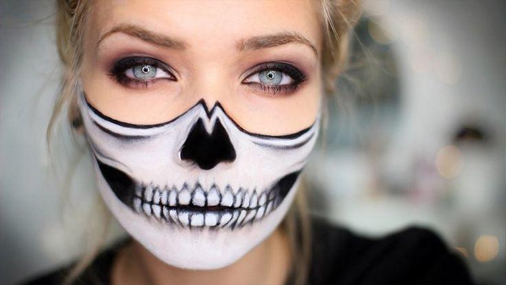 maquillage Halloween femme - tête de mort avec maquillage blanc et noir pour la moitié du visage